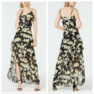 INC 16 Black & Yellow Floral Ruffled Hi Low Dress